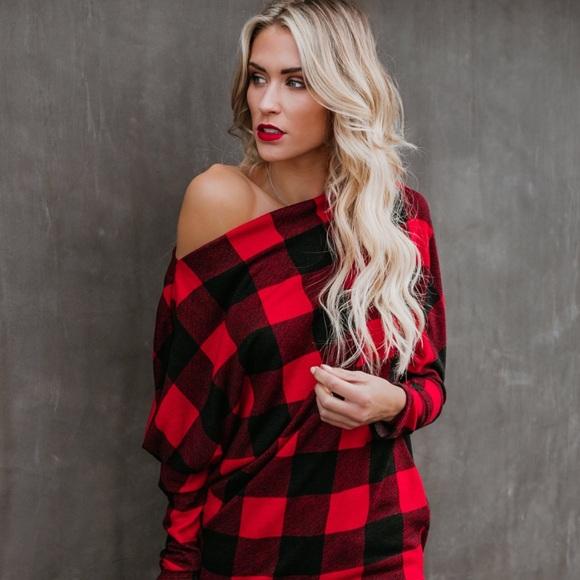 e22e5a70fc4dfe MIRIAH-Red Black Buffalo Plaid One Shoulder. Boutique. Haute Ellie